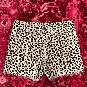 High-waisted stretch denim leopard shorts